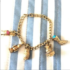 Avon vintage charm bracelet, gold tone cowboy boot